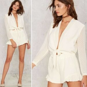 NEW Nasty Gal Plunging Neckline Front Tie Blouse M